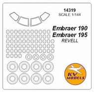 KV Models  1/144 Embraer 190 / Embraer 195 canopy paint mask AND wheel paint mask masks KV14319