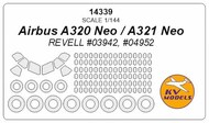 KV Models  1/144 Airbus A320 Neo, A321 Neo + wheels masks (designed to be used with REVELL RV03942, RV04952 kits) KV14339