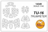 KV Models  1/144 Tupolev Tu-16 canopy paint mask AND wheel paint mask masks KV14349