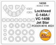 KV Models  1/144 Lockheed VC-140B / M¡-140A Jet Star canopy paint mask AND wheel paint mask masks KV14350
