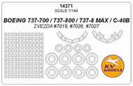 KV Models  1/144 Boeing 737-700737-800/737-8 MAX/C-40B canopy paint mask AND wheel paint mask masks KV14371