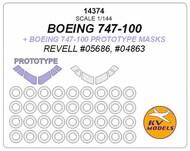 KV Models  1/144 Boeing 747-100 + prototype masks and masks for wheels (designed to be used with REVELL RV05686, RV04863 kits) KV14374