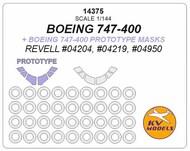 KV Models  1/144 Boeing 747-400 + prototype masks and masks for wheels (designed to be used with REVELL kits RV04204, RV04219, RV04950 kits) KV14375