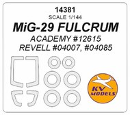 KV Models  1/144 Mikoyan MiG-29 FULCRUM + wheels masks (designed to be used with Academy and Revell RV4007, RV4085 AC12615 kits) KV14381