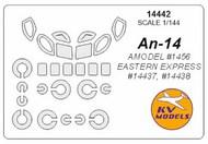 KV Models  1/144 Antonov An-14 canopy paint mask AND wheel paint mask masks KV14442