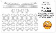 KV Models  1/144 Tupolev Tu-144 canopy paint mask AND wheel paint mask masks KV14444