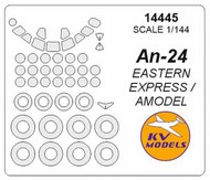 KV Models  1/144 Antonov An-24 (prototype) canopy paint mask AND wheel paint mask masks KV14445