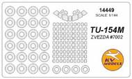 KV Models  1/144 Tupolev Tu-154m canopy paint mask AND wheel paint mask masks KV14449
