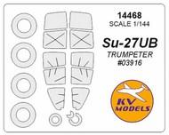 KV Models  1/144 Sukhoi Su-27UB canopy paint mask AND wheel paint mask masks KV14468