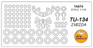 KV Models  1/144 Tupolev Tu-134 canopy paint mask AND wheel paint mask masks KV14474
