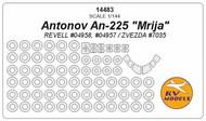 KV Models  1/144 NEW!!! Antonov An-225 'Mrija' canopy paint mask AND wheel paint mask masks KV14483
