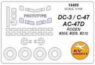KV Models  1/144 Douglas DC-3 / C-47 / AC-47D + prototype mask and masks for wheels KV14489