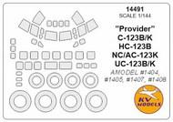 KV Models  1/144 Fairchild C-123B/K /HC-123B /NC/AC-123K /UC-123B/K Provider canopy paint mask AND wheel paint masks KV14491