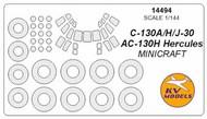 KV Models  1/144 Lockheed C-130 Hercules canopy paint mask AND wheel paint mask masks KV14494