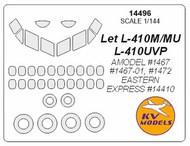 KV Models  1/144 LET L-410 + side windows on fuselage and wheels masks KV14496