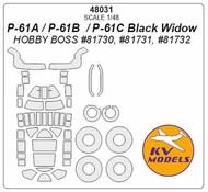 Northrop P-61A / P-61B / P-61C Black Widow + wheels masks #KV48031