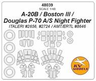 Douglas A-20B / Boston III / Douglas P-70 A/S Night Fighter + wheels masks #KV48039