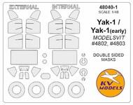 Yakovlev Yak-1 - Double-sided masks+ wheels masks #KV48040-1