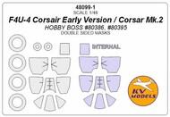 Vought F4U-4 Corsair Early Version / Corsar Mk.2 - Double-sided masks + wheels masks #KV48099-1