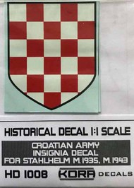 Kora Models  1/1 Decal Croatian Army Insignia (1935, 1943) KORAHD1008