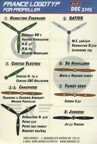 Kora Models  1/32 France WWII propeller manufacturer logo's KORD3205