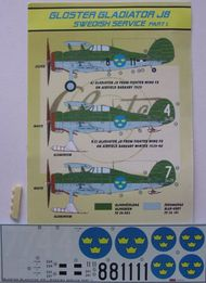 Gloster Gladiator Mk.II J8A (Swedish) Part I. WAS ú10.80. TEMPORARILY SAVE 1/3RD!!! #KORD4881