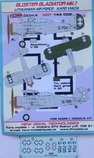 Kora Models  1/144 Gloster Gladiator Mk.I Lithuanian AF NDT144002
