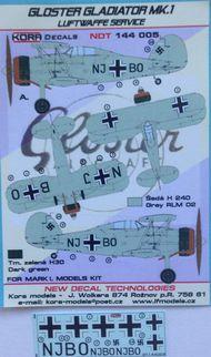 Kora Models  1/144 Gloster Gladiator Mk.I Luftwaffe NDT144005