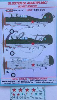 Kora Models  1/144 Gloster Gladiator Mk.I Luftwaffe NDT144006