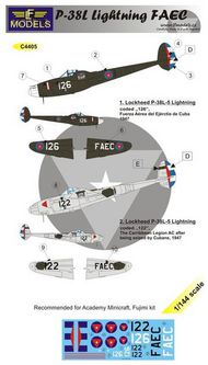 LF Models  1/144 Lockheed P-38L Lightning FAEC CUBA 1947 (2 decal options) designed to be used with Academy, Fujimi and Minicraft kits) LFMC4405