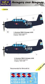 LF Models  1/144 Grumman TBF Avenger over Uruguay pt 2. 2 Decal option for Minicraft kit. LFMC44100