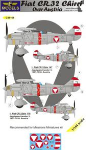 LF Models  1/144 Fiat CR.32 Chirri over Austria. 2 decal options for Minairons Miniatures kit. LFMC44104