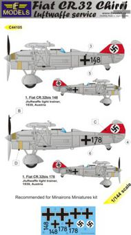 LF Models  1/144 Fiat CR.32 Chirri Luftwaffe Service. 2 decal options for Minairons Miniatures kit. LFMC44105