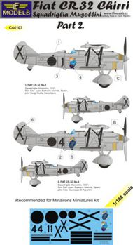 LF Models  1/144 Fiat CR.32 Chirri Squadriglia Musollini Part 2. 3 decal options for Minairons Miniatures kit. LFMC44107