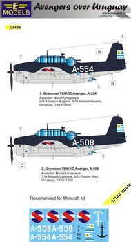 LF Models  1/144 Grumman TBM-3E and TBM-1C Avenger over Uruguay pt 1. 2 Decal options for Minicraft kit. LFMC4499