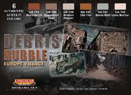 Life Color Paints  LifeColor 22ml Acrylic Debris & Rubble Europe Village Diorama Acrylic Set LFCCS31