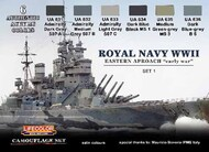 Life Color Paints  LifeColor 22ml Acrylic Royal Navy WWII Eastern Approach Early War Set #1 Camouflage Acrylic Set LFCCS33
