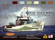 Life Color Paints  LifeColor 22ml Acrylic Royal Navy WWII Western Approach Late War Set #1 Camouflage Acrylic Set LFCCS34