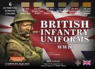 Life Color Paints  LifeColor 22ml Acrylic British WWII Infantry Uniforms Acrylic Set LFCCS41