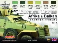 Life Color Paints  LifeColor 22ml Acrylic British WWII Tanks Afrika & Balkan Caunter Scheme #1 Acrylic Set LFCCS43