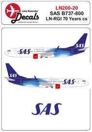 Lima November  1/200 SAS Boeing 737-800 LN-RGI SAS 70 years cs for Hasegawa kits LN20020