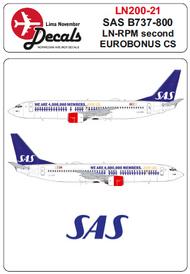 Lima November  1/200 SAS Boeing 737-800 LN-RPM second Eurobonus cs for Hasegawa kits LN20021
