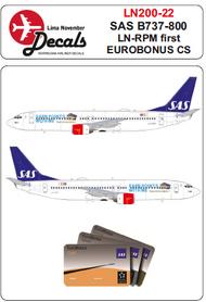 Lima November  1/200 SAS Boeing 737-800 LN-RPM first Eurobonus cs for Hasegawa kits LN20022