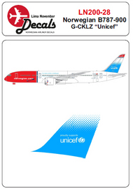 Lima November  1/200 Norwegian Boeing 787-900 with Unicef on tail LN20028