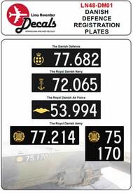 Lima November  1/48 Danish Defence Registration Plates LN48-DM01