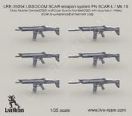 LIVE RESIN  1/35 USSOCOM SCAR Weapon System FN SCAR-L/Mk 16 Close Quarter Combat w/Suppressor (6) (D)<!-- _Disc_ --> LRE35054