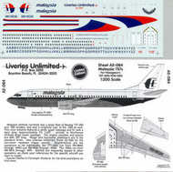 Liveries Unlimited  1/200 Boeing 737-400/737-500 MALAYSIAN AIRLINES 9M-MQK etc . LU2084