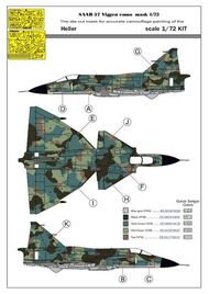 Maestro Models  1/72 SAAB 37 1-seater splinter camouflage pattern paint mask [AJ-37 JA-37] (designed to be used with Heller and Tarangus kits) MMMK7271