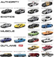 Maisto  1/64 Design Collection Car Assortment: Authority, Exotics, Muscle, Outlaws (12 Different) MAI15494