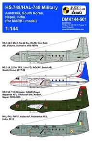 Mark 1 Decals  1/144 Hawker-Siddeley HS.748/HAL-748 'Andover Military', Pt.1 - Pre-Order Item DMK144-501